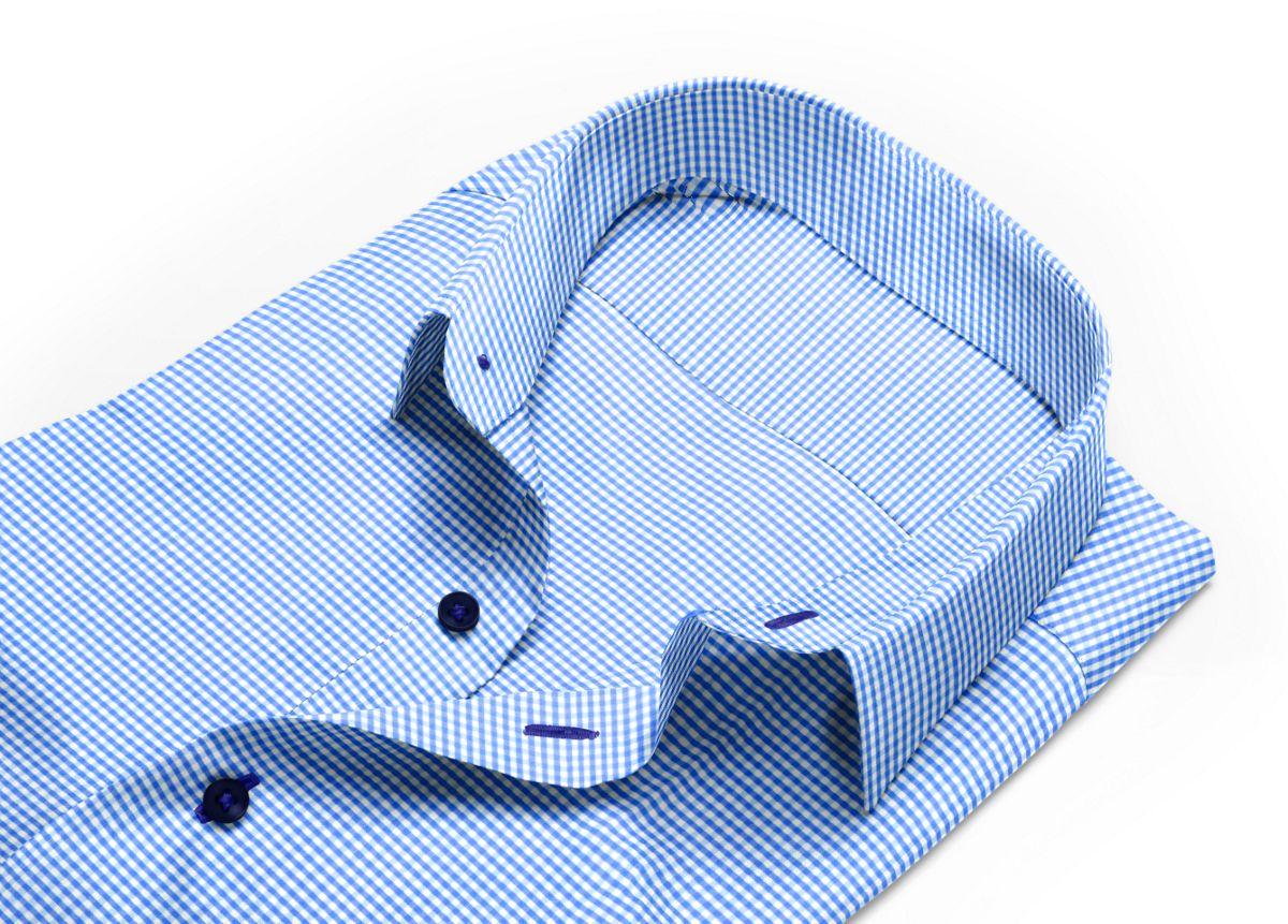 Chemise homme sur mesure col anglais bleu, blanc carreaux