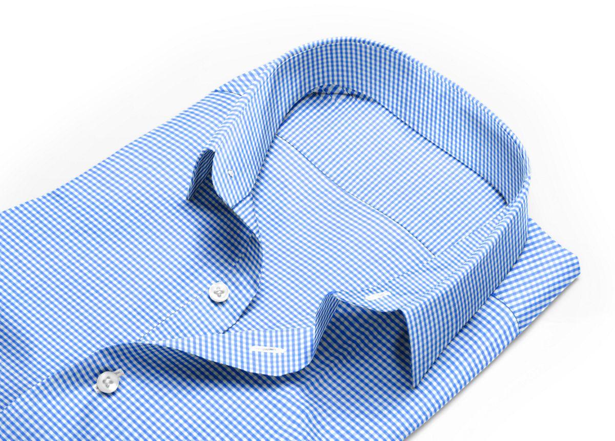 Chemise homme sur mesure col italien ouvert bleu, blanc carreaux
