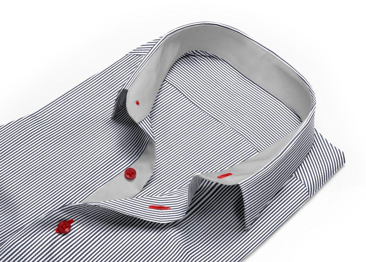 Chemise Col boutonné sous patte noir, Blanc popeline