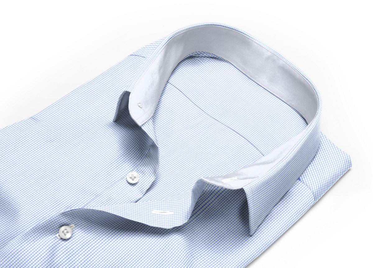 Chemise homme sur mesure col italien ouvert bleu carreaux