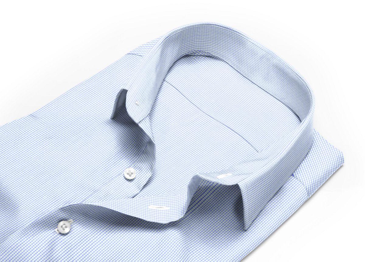 Chemise homme sur mesure col boutonné sous patte bleu carreaux