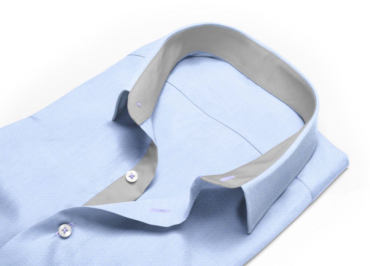 Chemise homme sur mesure col italien bleu uni