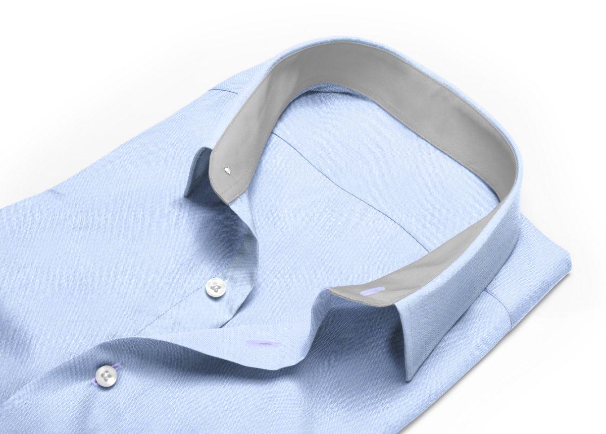 Chemise homme sur mesure petit col classique bleu uni