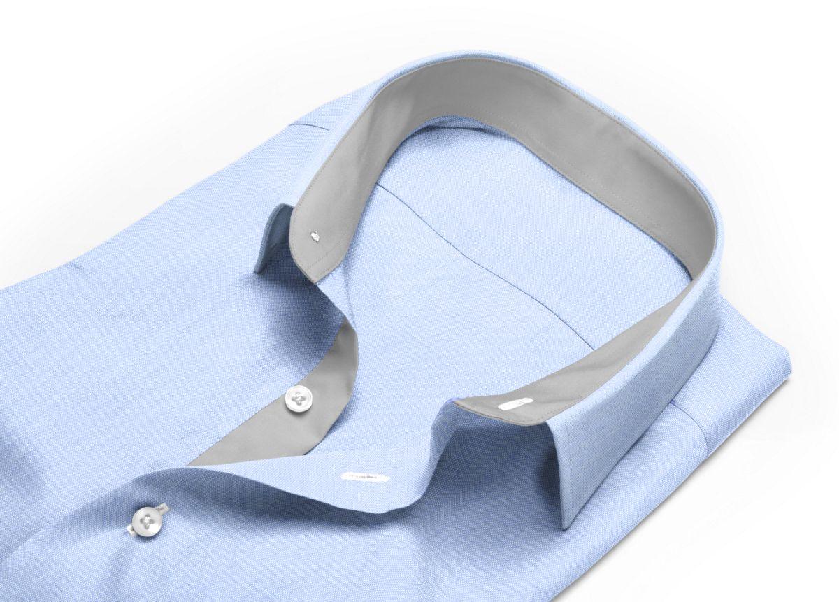 Chemise homme sur mesure col boutonné sous patte bleu uni