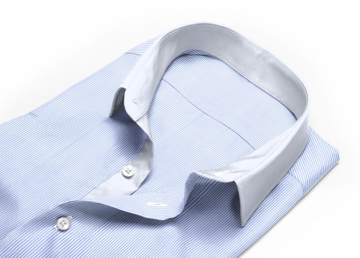 Chemise homme sur mesure col italien bleu rayé