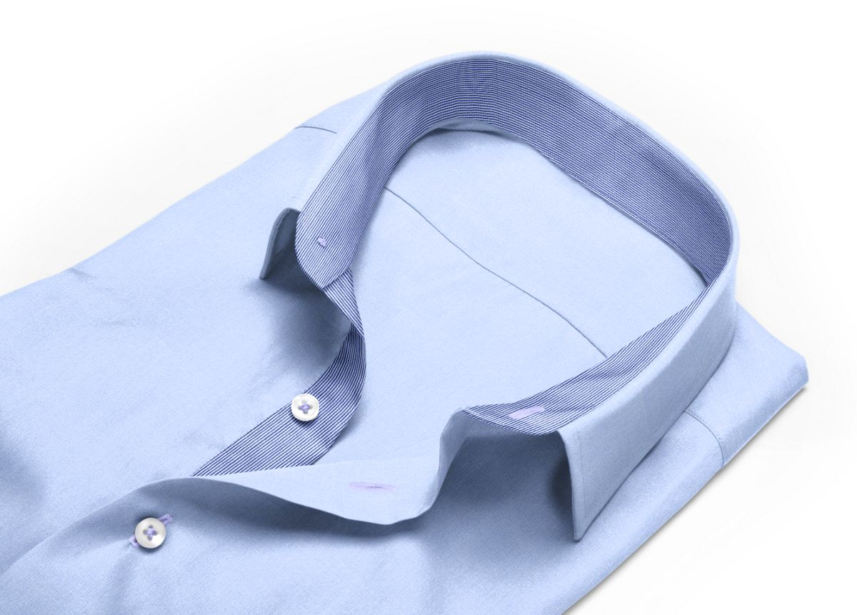 Chemise homme sur mesure col italien bleu, bleu ciel uni