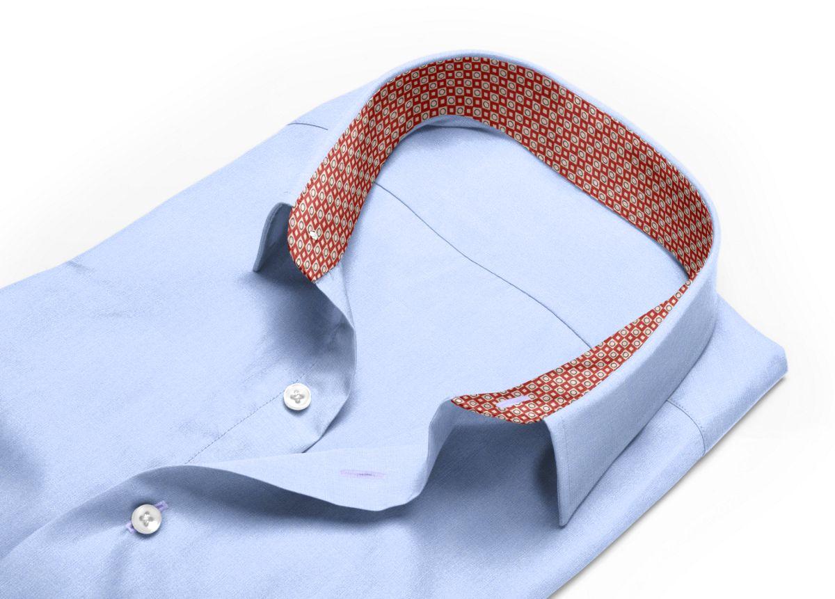 Chemise homme sur mesure col italien ouvert bleu, bleu ciel uni