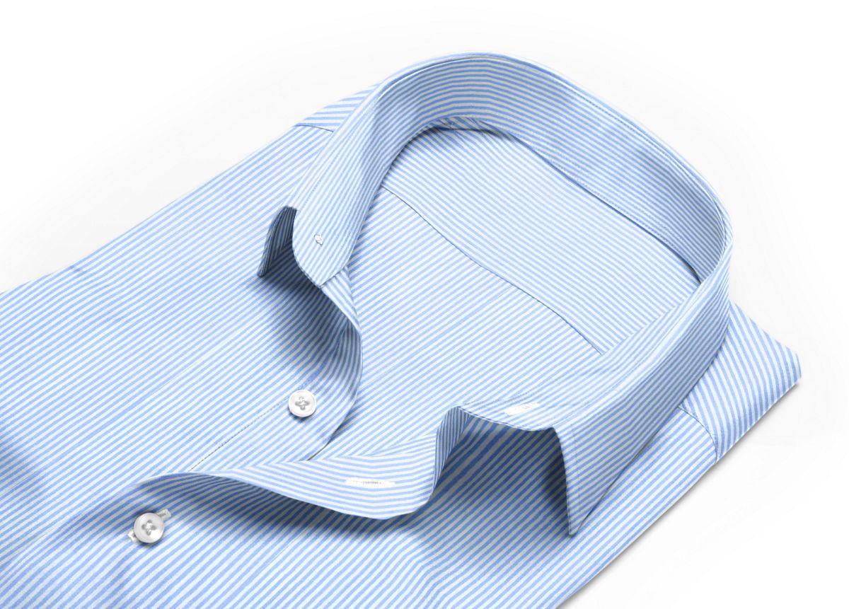 Chemise homme sur mesure col italien ouvert bleu clair, bleu, blanc rayé