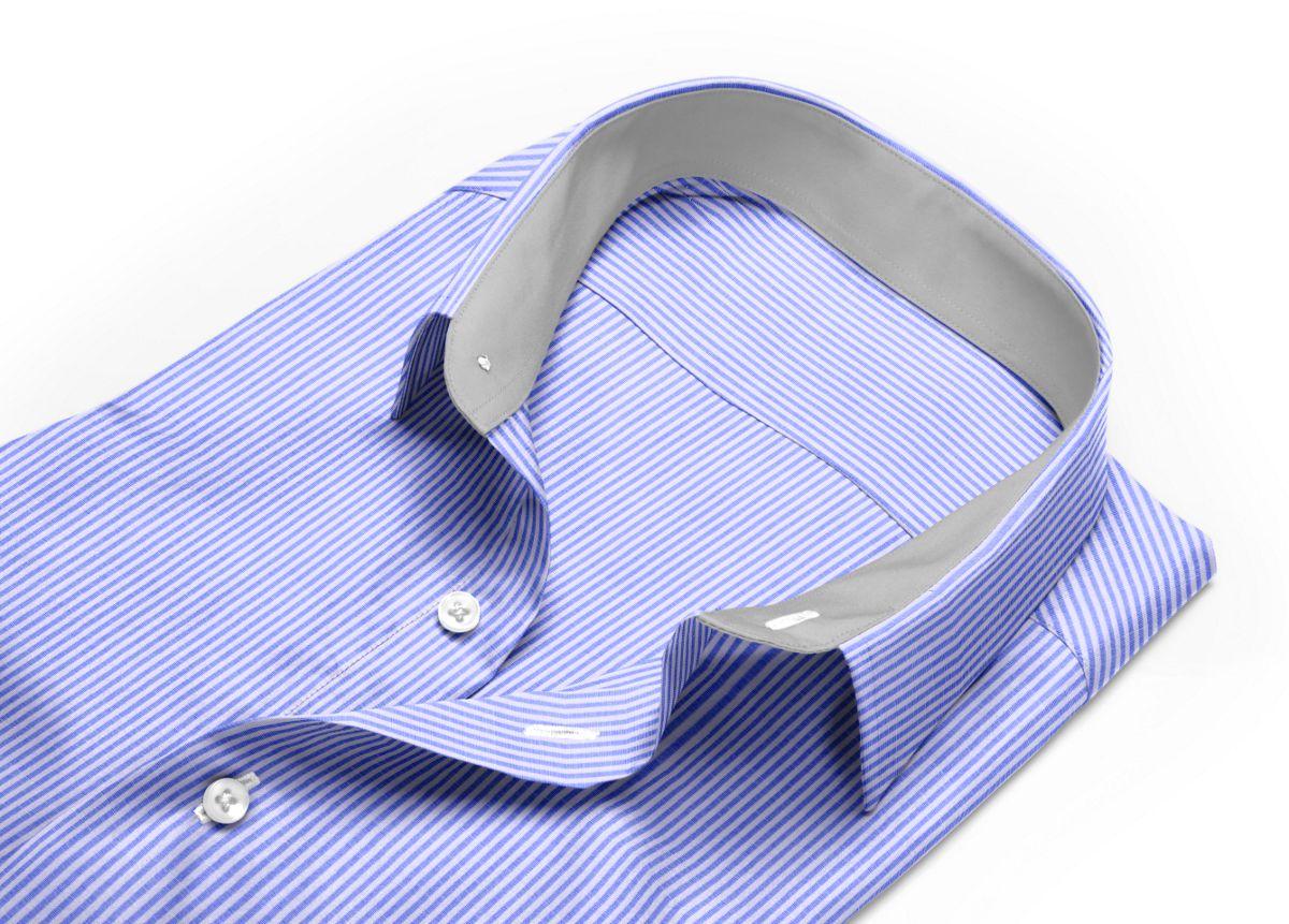 Chemise homme sur mesure col italien bleu, blanc rayé
