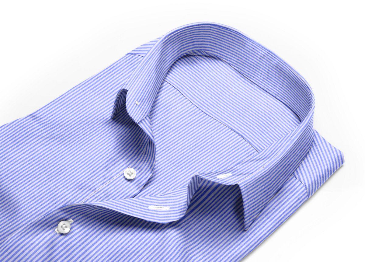 Chemise homme sur mesure col italien ouvert bleu, blanc rayé