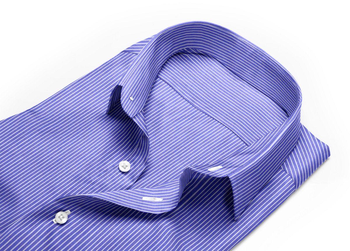 Chemise homme sur mesure petit col classique bleu, blanc rayé