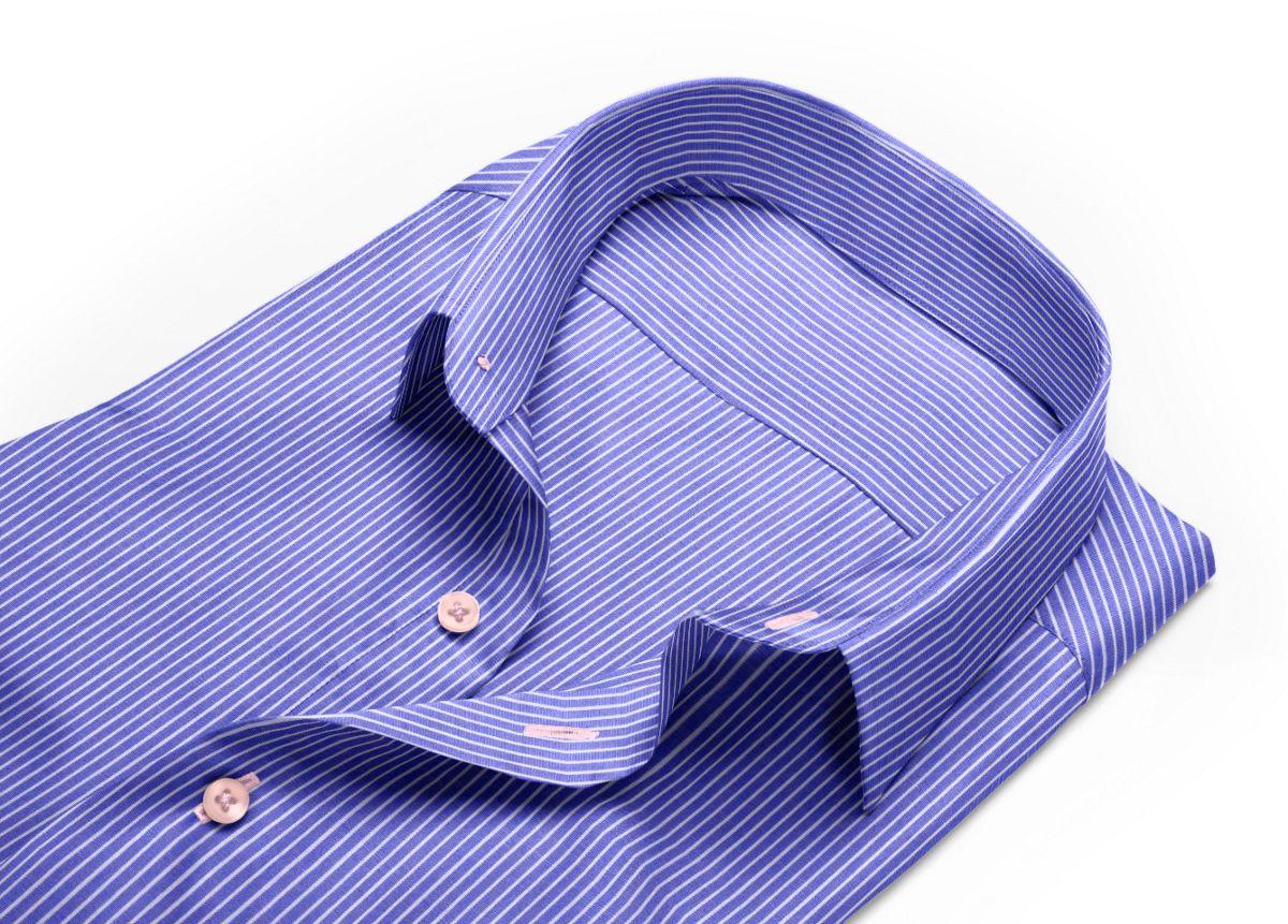 Chemise homme sur mesure col classique bleu, blanc rayé