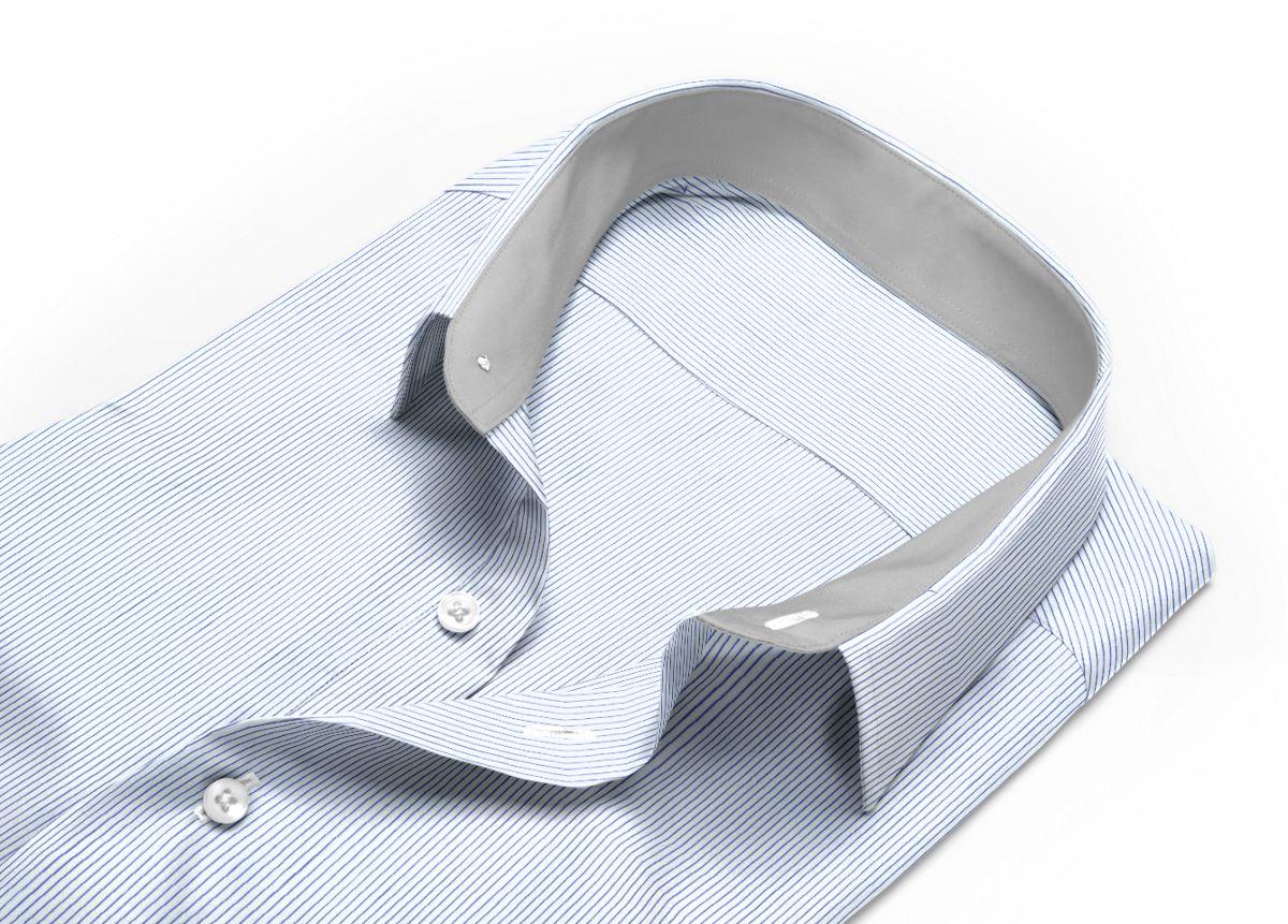 Chemise homme sur mesure col italien bleu foncé, bleu rayé