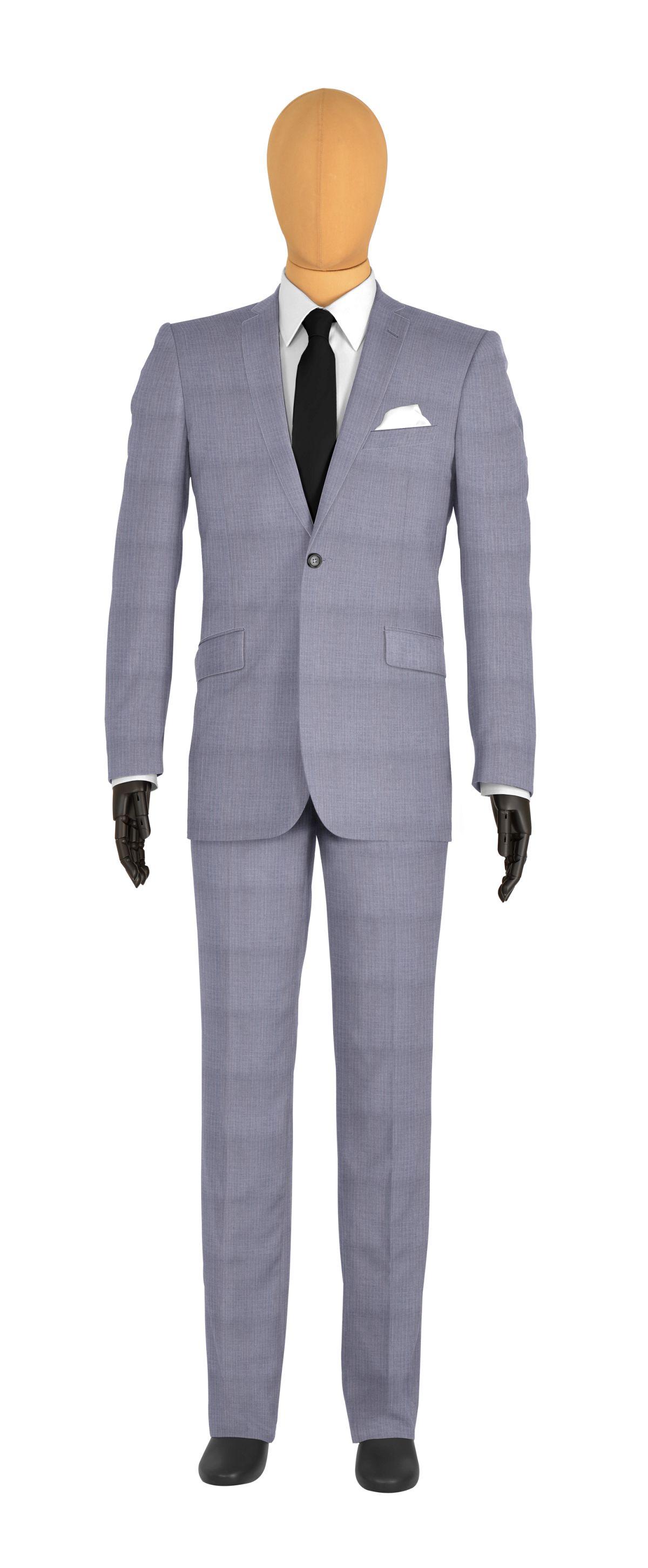 veste 1 bouton sur mesure pour homme gris clair, gris rayé