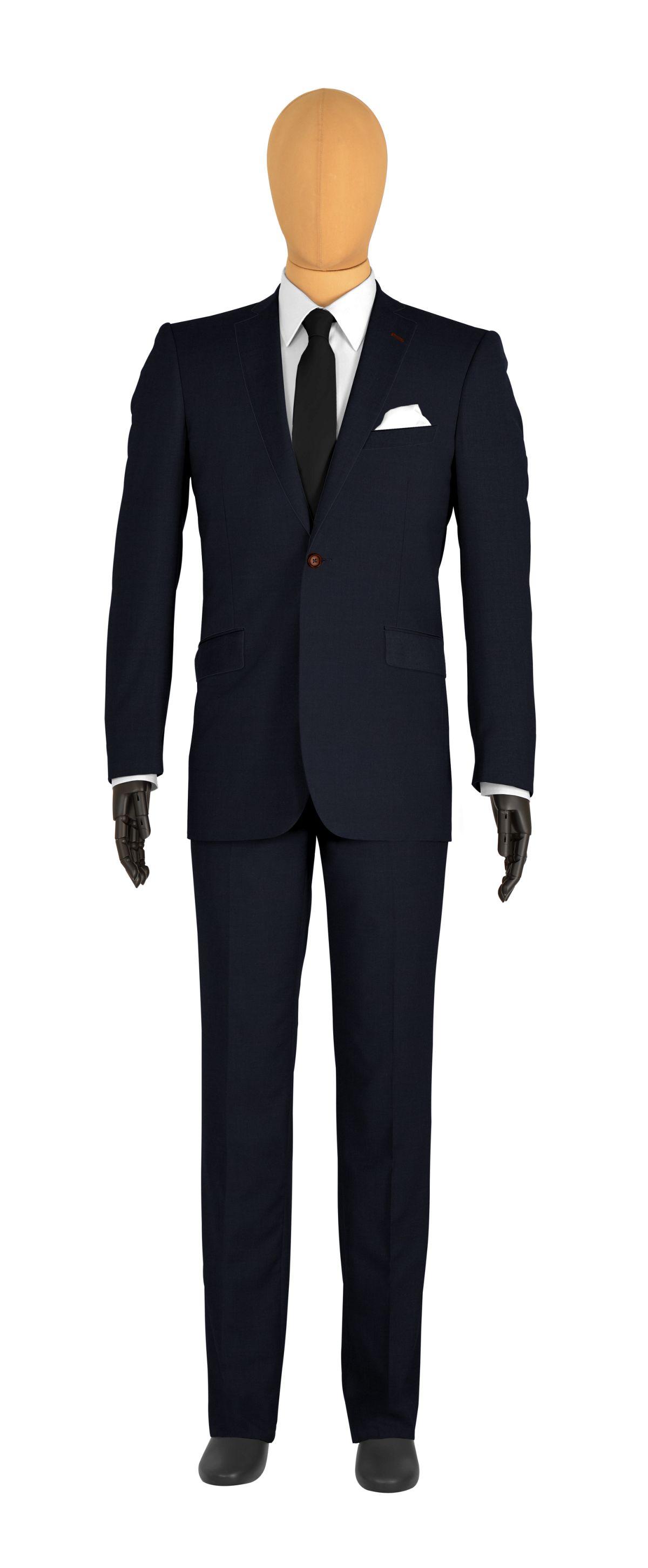 veste 1 bouton sur mesure pour homme bleu uni