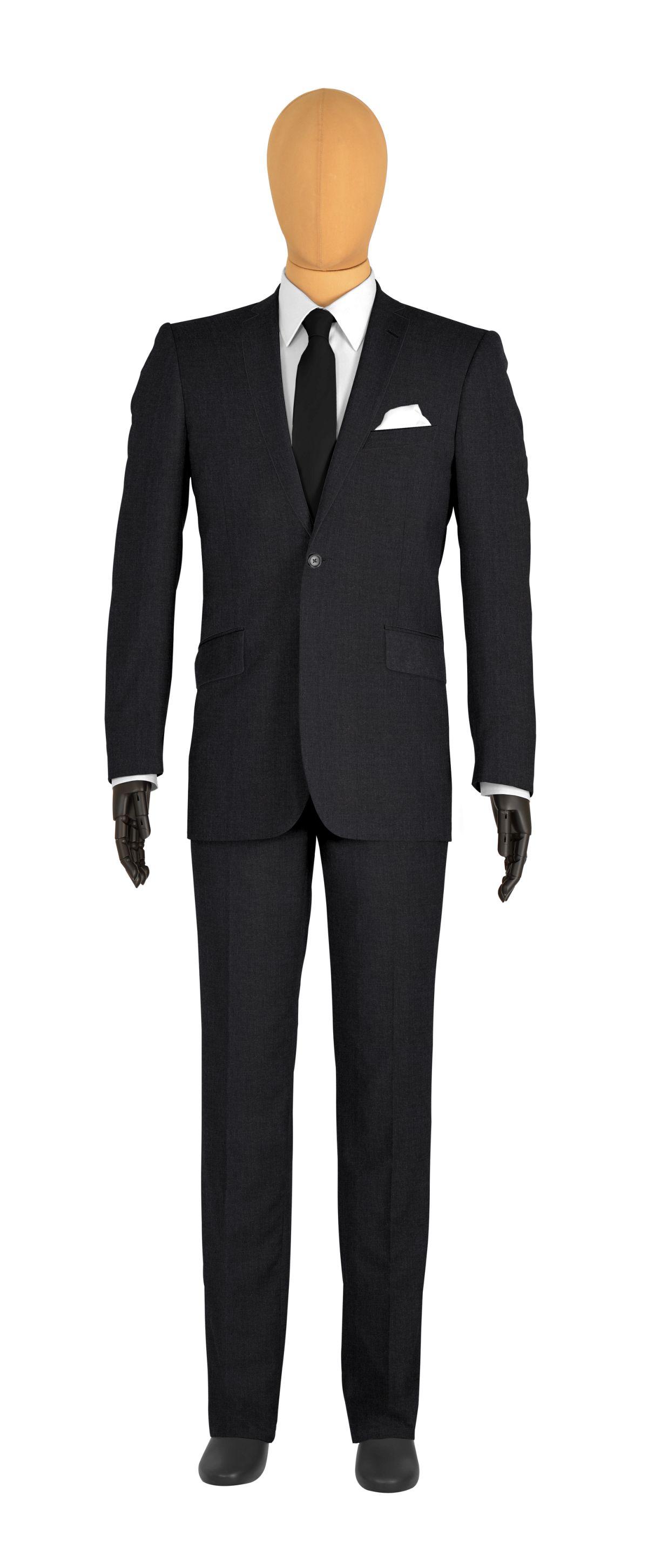 Costume 1 bouton gris anthracite doublure bordeaux