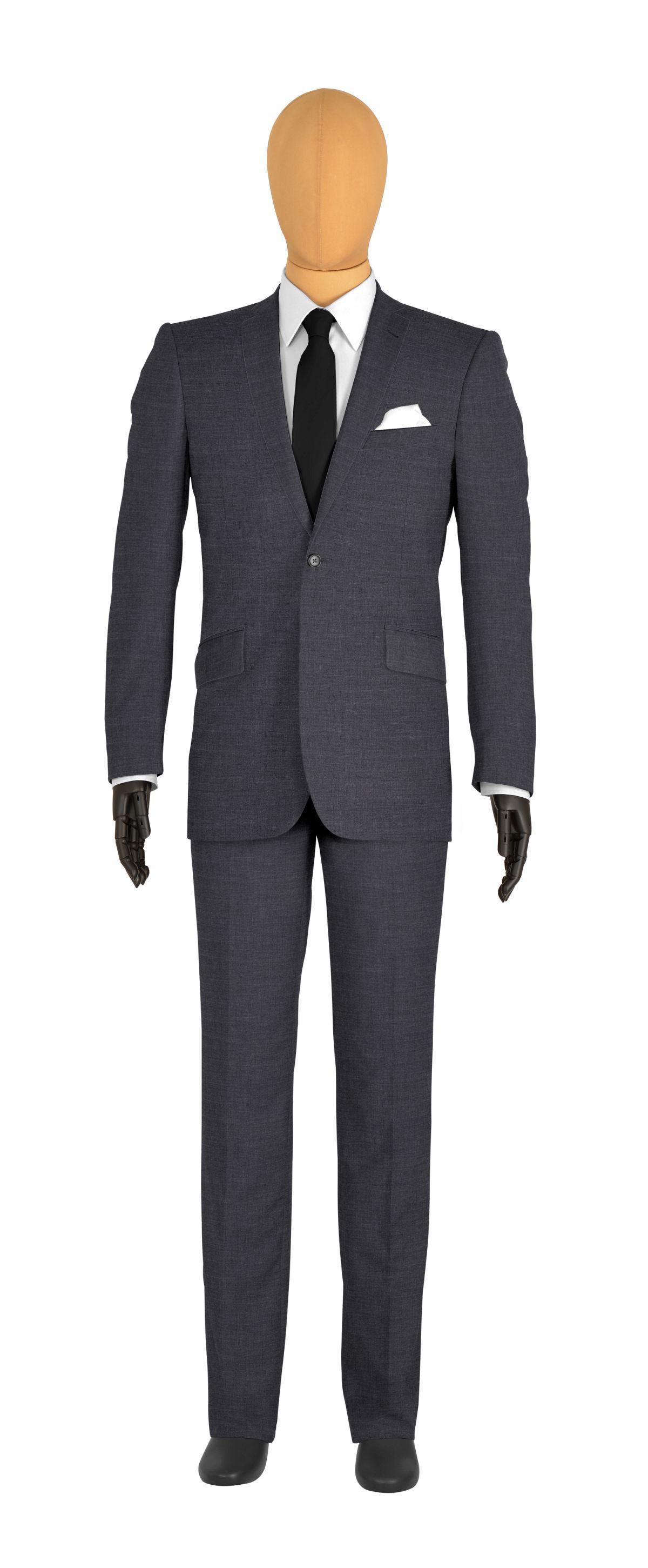 Costume 1 bouton gris median col classique