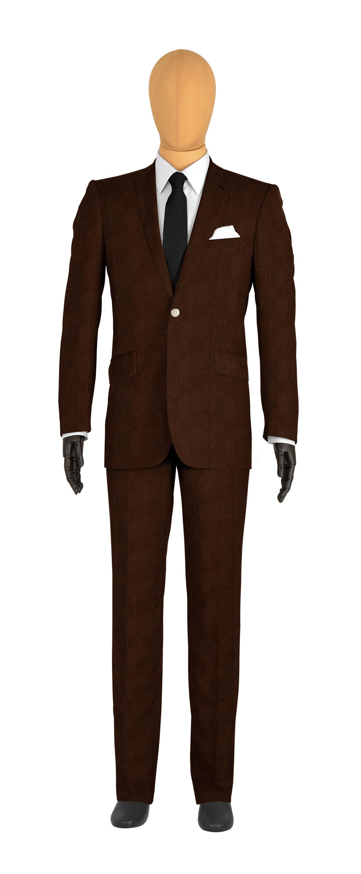 veste 1 bouton sur mesure pour homme marron uni