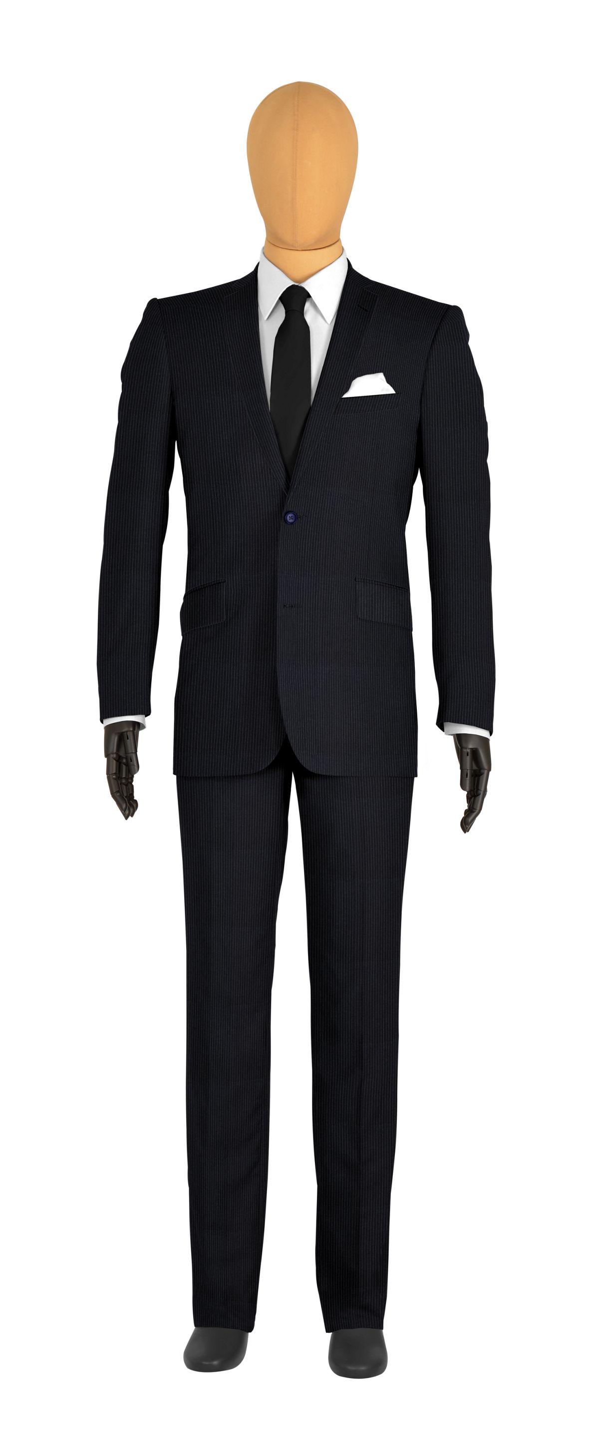 Costume 2 boutons bleu rayures fines