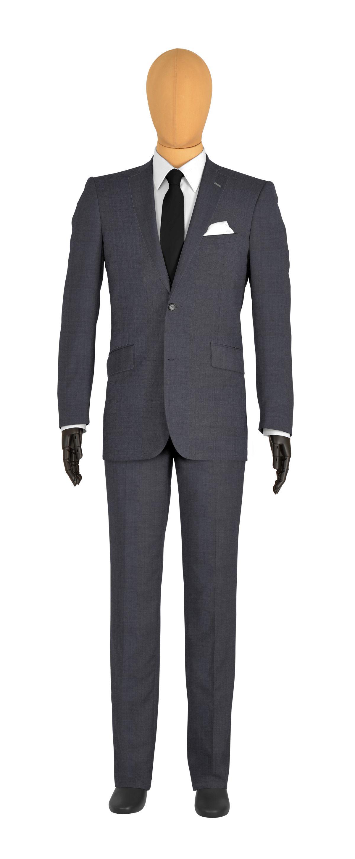 veste 2 boutons sur mesure pour homme gris, gris médian uni