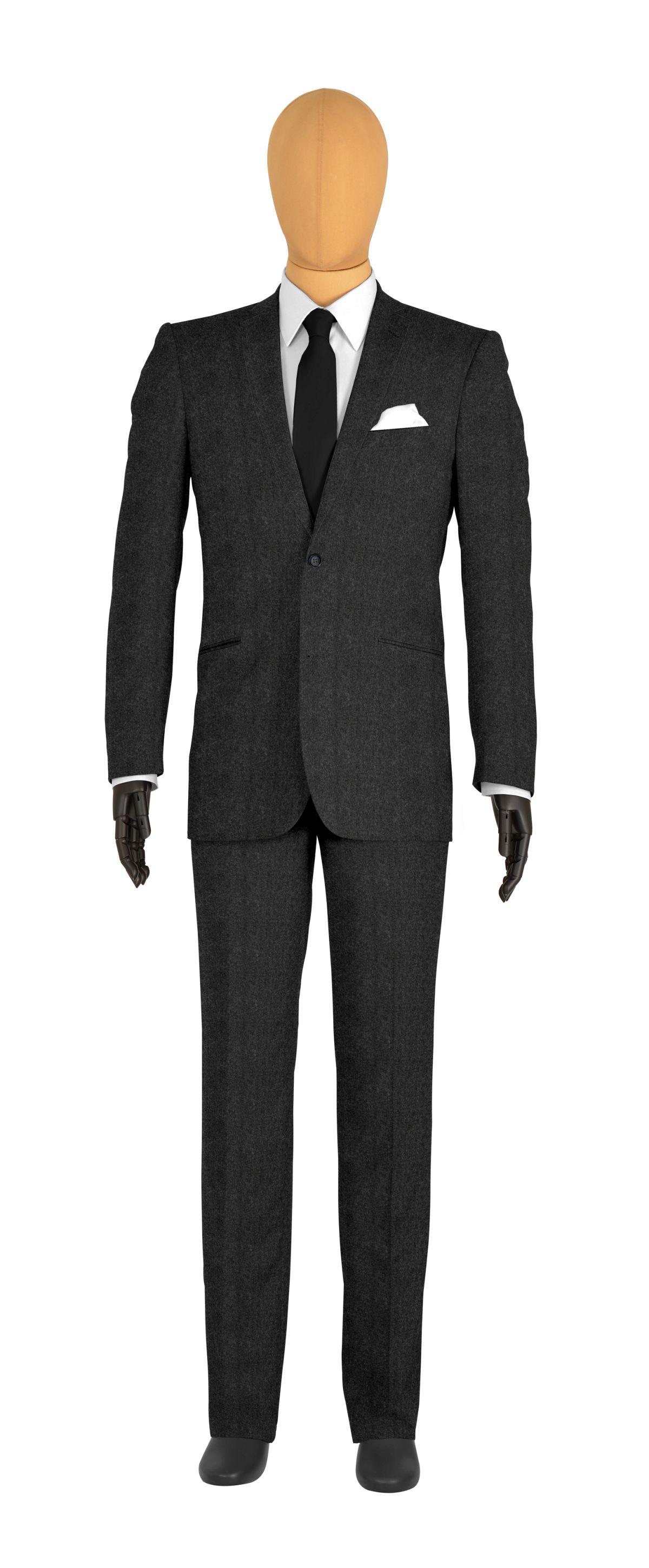 Costume 2 boutons gris flanelle, col classique et doublure rose fushia