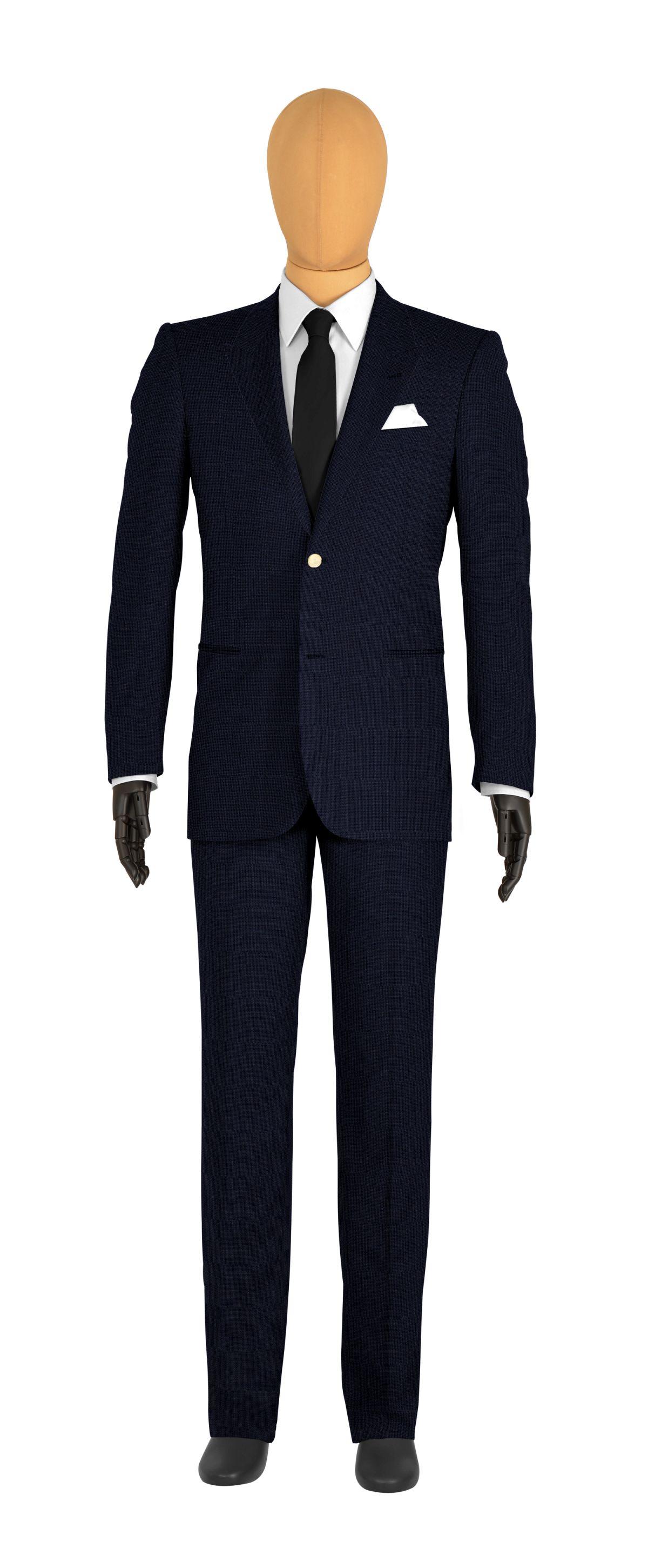 veste 2 boutons sur mesure pour homme bleu foncé uni