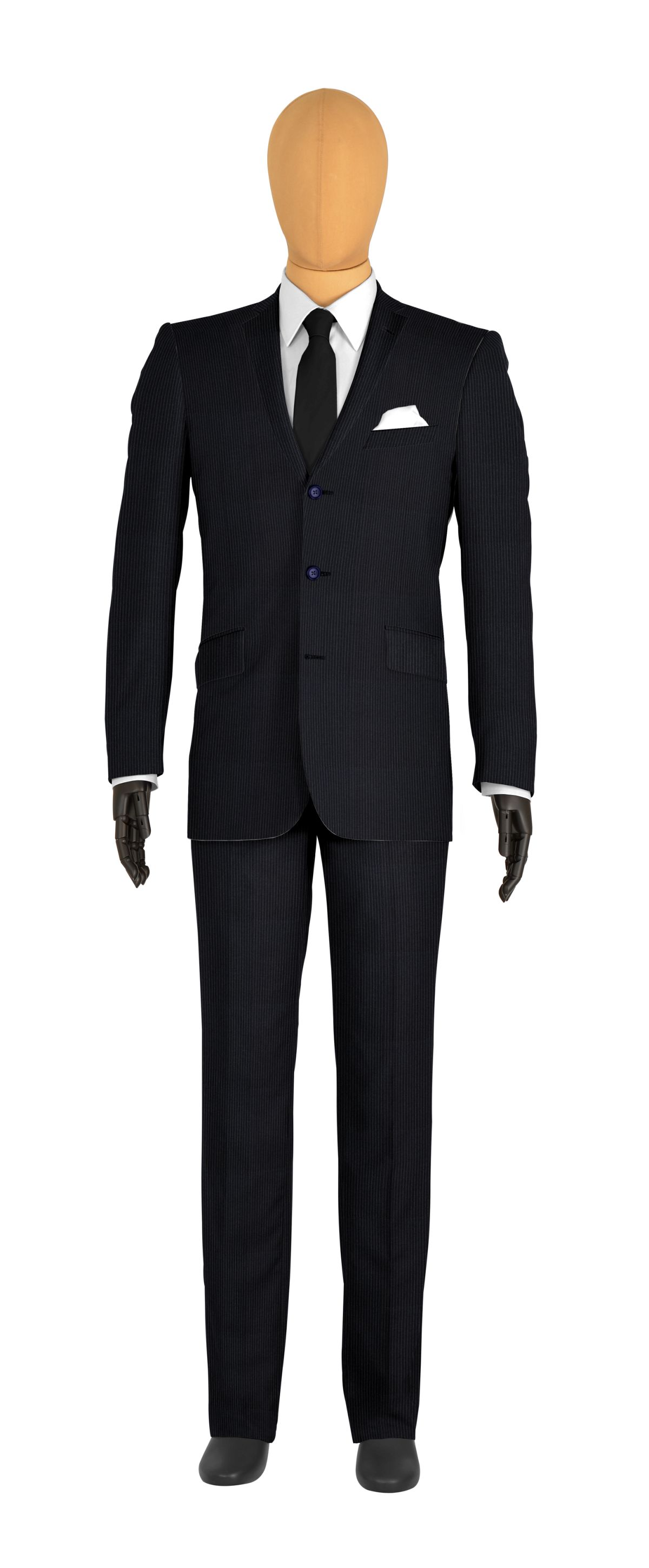 Costume 3 boutons bleu rayures fines
