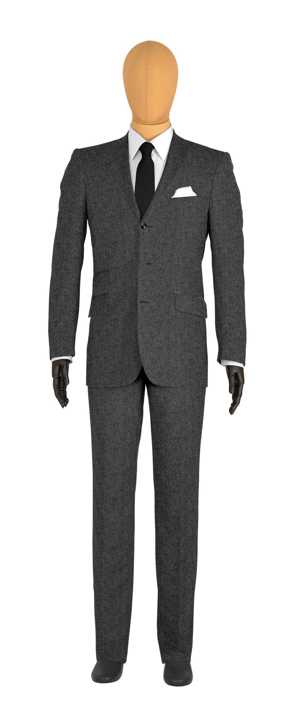 veste 3 boutons sur mesure pour homme gris uni