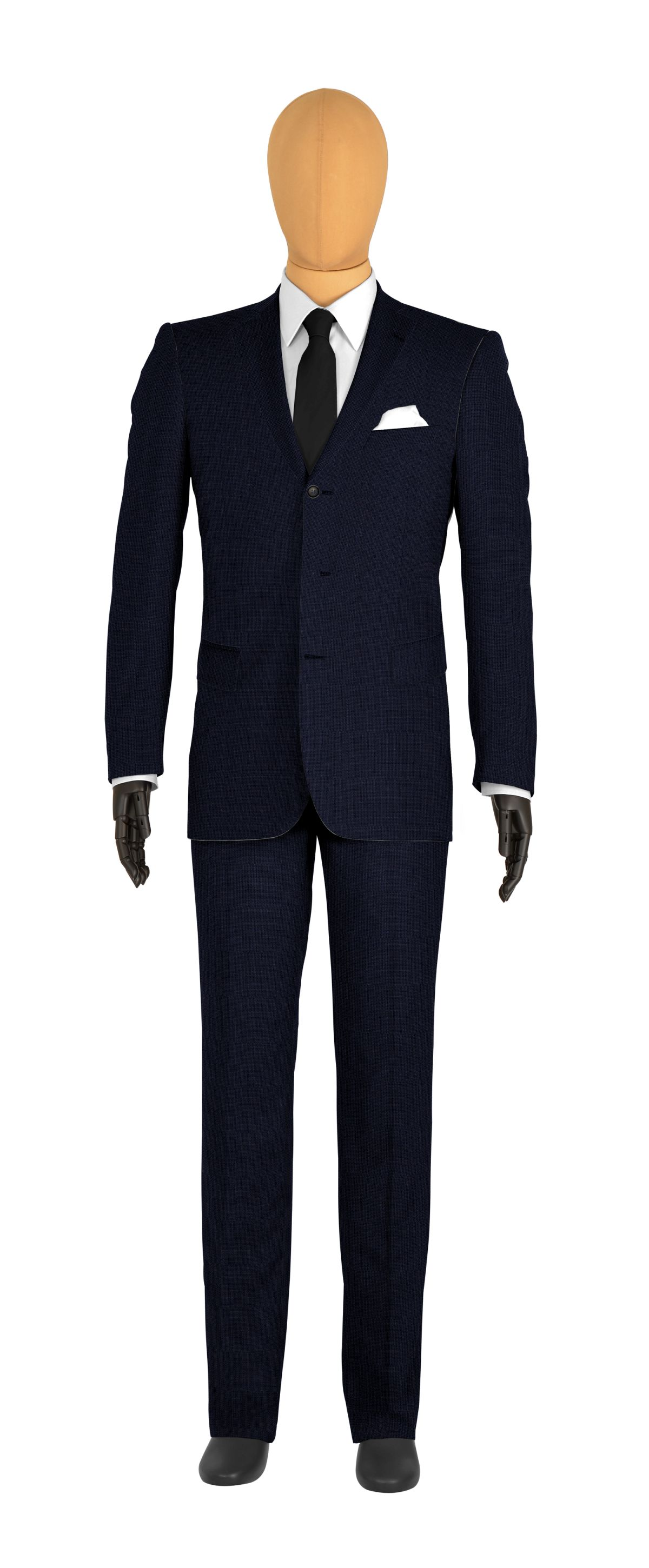veste 3 boutons sur mesure pour homme bleu foncé uni