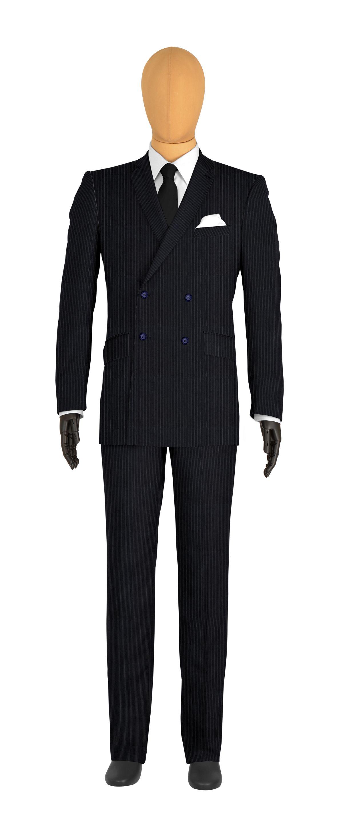 Costume veste croisée bleu rayures fines