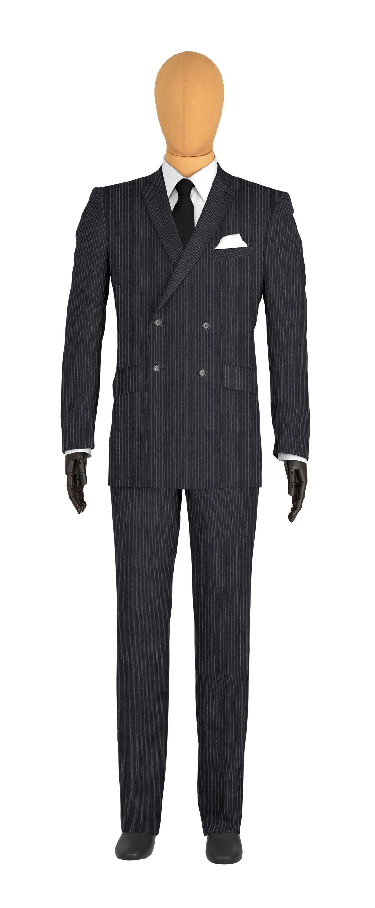 Costume veste croisée gris fines rayures