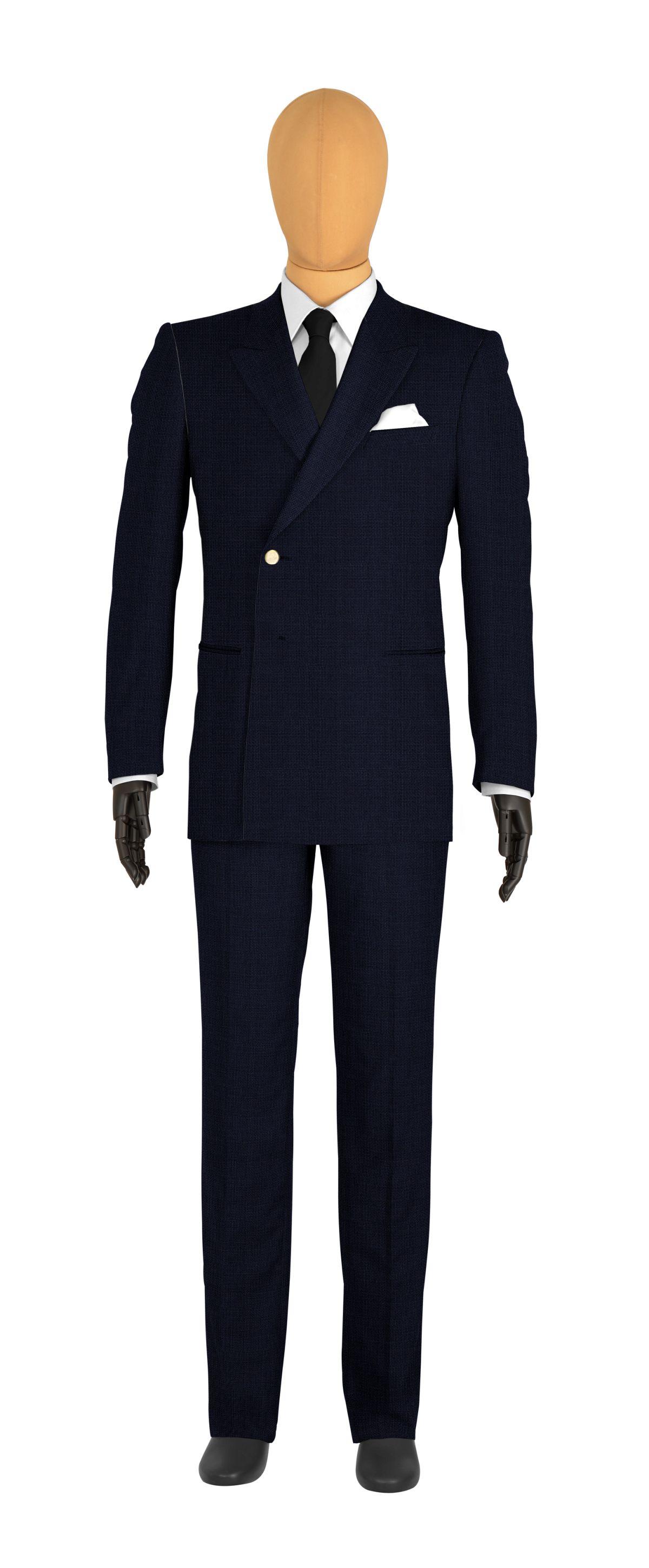 veste croisée sur mesure pour homme bleu foncé uni