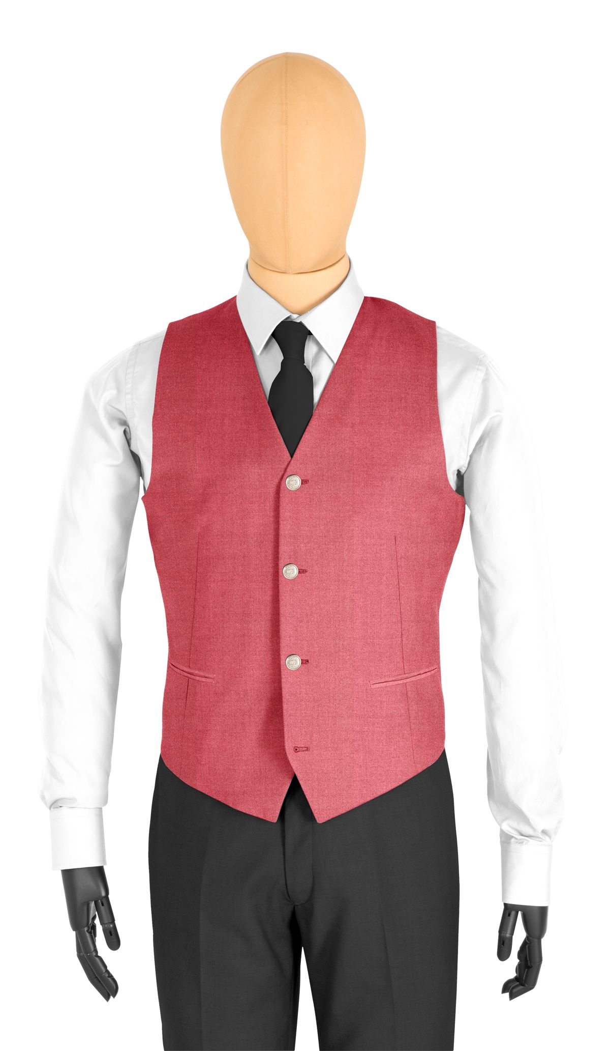 Gilet coupe 4 boutons rouge