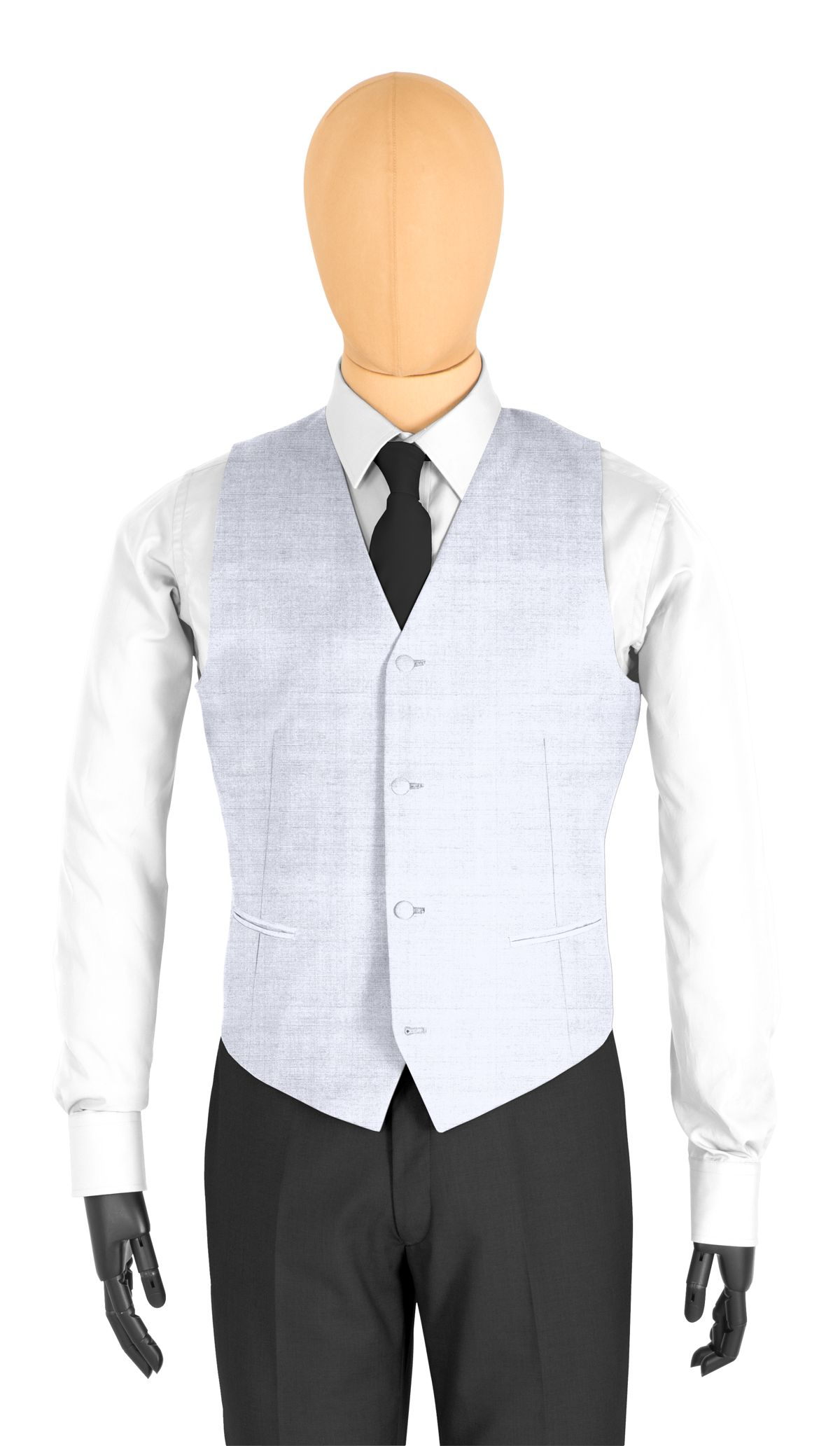 Gilet homme sur mesure et personnalisé gris clair, gris uni  coupe 4 boutons