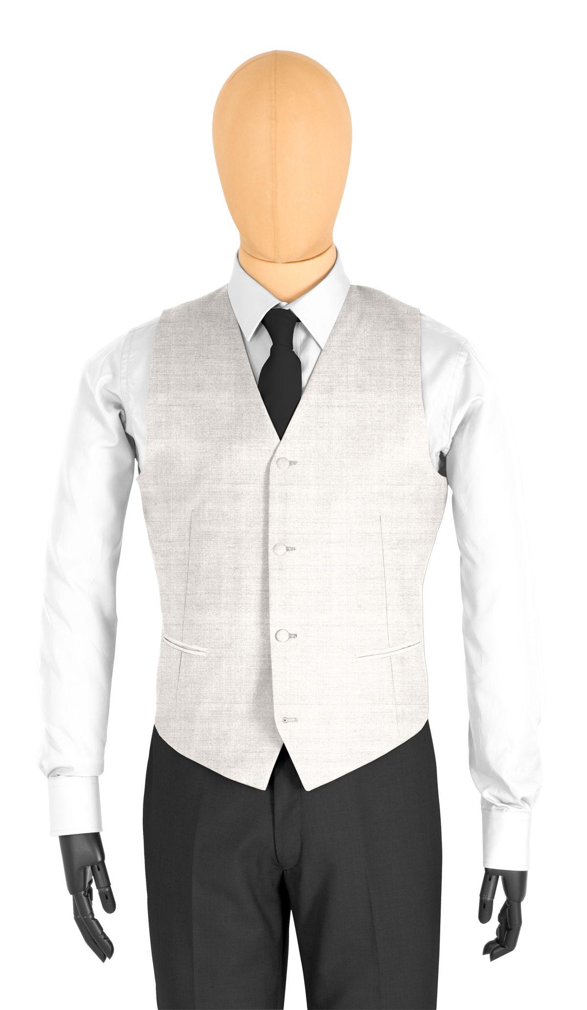 Gilet homme sur mesure et personnalisé gris clair, gris argenté uni  coupe 4 boutons