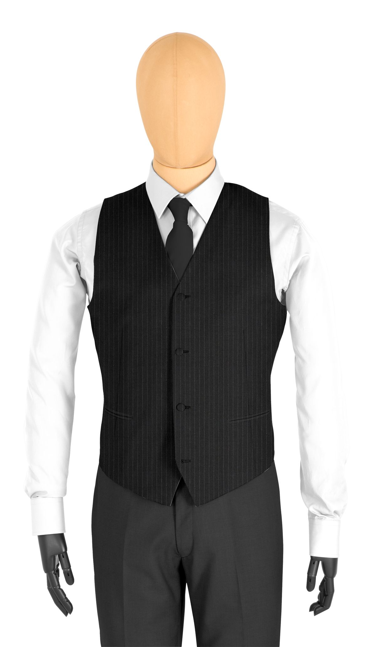 Gilet coupe 4 boutons noir rayures simples