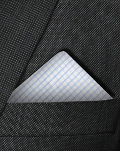 Pochette blanche et bleue