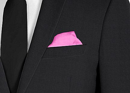 Pochette de costume rose bonbon en soie