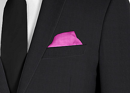 Pochette de costume rose fushia en soie