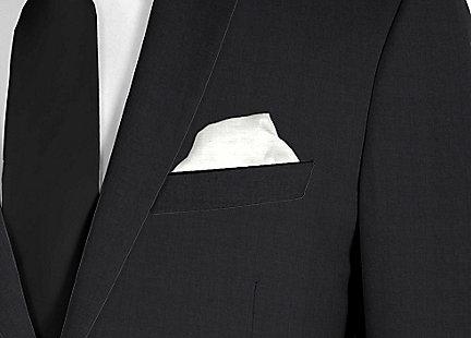 Pochette de costume gris clair en soie