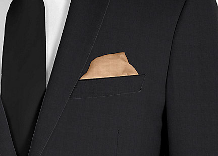 Pochette de costume beige en soie
