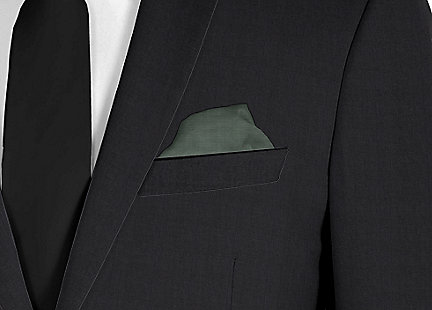 Pochette de costume vert en soie