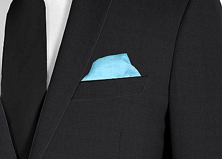 Pochette de costume bleu turquoise en soie