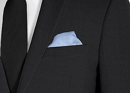 Pochette de costume bleu en soie