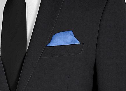 Pochette de costume bleu foncé en soie