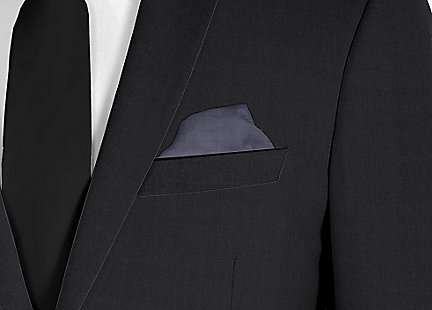 Pochette de costume gris anthracite en soie