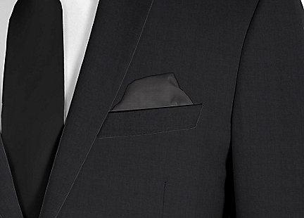 Pochette de costume noir en soie